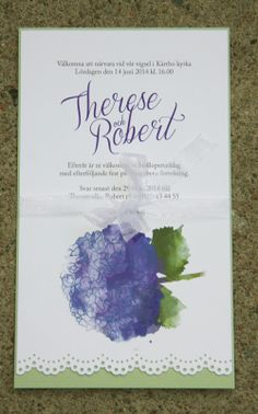 Ett inbjudningskort med stansad spets och illustration hortensia.  A wedding invite with punched lace and a Hydrangea illustration.
