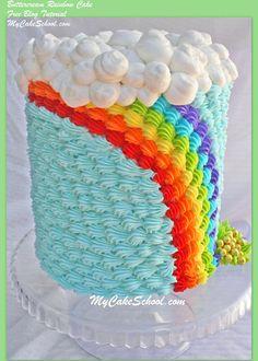 Cheerful buttercream rainbow cake!  Blog tutorial from MyCakeSchool.com!~ Perfect for St. Patrick's Day ;0)