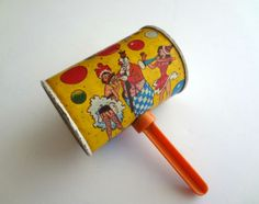 Vintage 1950's Risque Costume Party New Years Tin Lithograph Noisemaker by NatureCoastVintage, $15.00