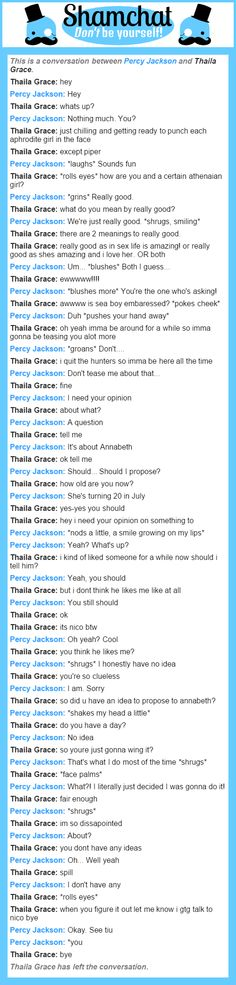 A conversation between Thaila Grace and Percy Jackson