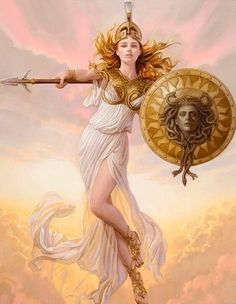 Athena is described as being beautiful, wearing scaled golden armour, helmet and a long dress with a hem of little snakes. Ancient Greek mythology also mentions that she sprung from her father's head fully armed. Her father was Zeus, and he made M. Greek And Roman Mythology, Greek Gods And Goddesses, Athena Goddess, Minerva Goddess, Greek Goddess Art, Nagano, Ancient Greece, Ancient Egypt, Mythical Creatures
