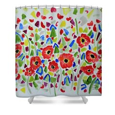 Poppies Shower Curtain by Cathy Rodgers
