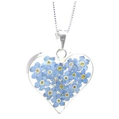 Image detail for -Home > Flower Jewellery > Real Flower Forget-Me-Not Medium Heart ...