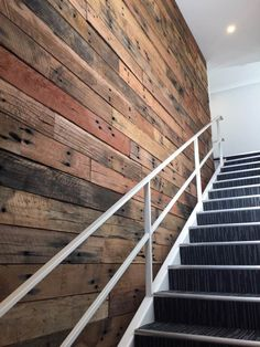 Timber feature Feature walls in stairwell
