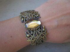 Large Bronze Golden Jewel Stone Brass Cuff