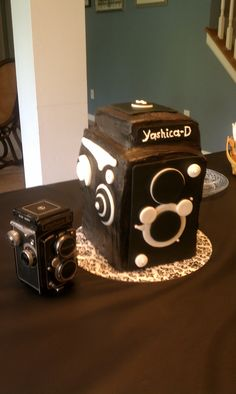 Yashica Box Camera Cake   The Yashica-D was available 1958-74.  The cake was created as a 2x scale replica for my daughter's high school graduation.