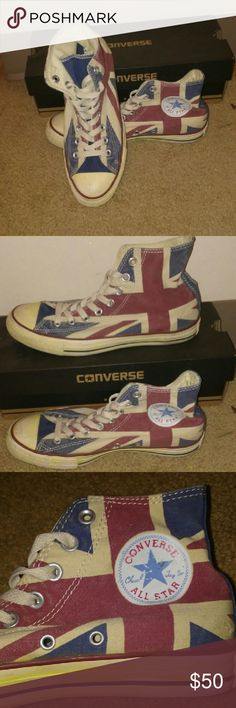 "UK flag Converse Very new, worn only twice. Supposed to look ""vintage"" (written on Converse site) so they're not dirty lol Size 6.5 in mens, so 8-8.5 in womens. Open to offers :) I'm not sure if Converse even sells these anymore :) Converse Shoes Sneakers"