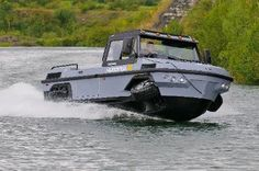 Gibbs Amphitrucks - Humdinga. This thing can carry 7 people or equivalent weight in cargo and can transition from land to water in seconds at the push of a button