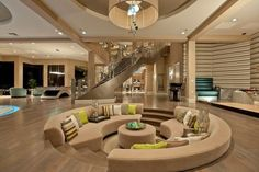 Open Living Room with Sunken Conversation Pit~I have always wanted this!