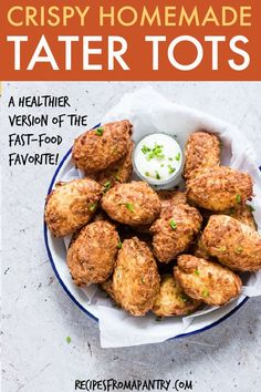 Air Fryer Tater Tots are a healthier homemade version of the fast food favourite. They turn out perfectly crispy on the outside and pillowy soft on the inside. You will love cooking up these gluten-free, vegan tater tots in the… Continue Reading → Air Fryer Recipes Vegan, Air Fryer Dinner Recipes, Air Fryer Healthy, Ww Recipes, Brunch Recipes, Appetizer Recipes, Vegetarian Recipes, Healthy Recipes, Snacks Recipes