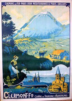 Ancienne affiche touristique pour Clermont-Ferrand