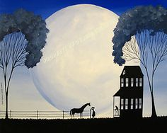 "Original Painting Folk Art "" Telling Secrets "" Debbie Criswell Horse Girl Cat   eBay"