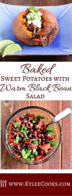 Baked sweet potatoes topped with a Mexican inspired warm black bean salad including tomatoes, garlic, spices ,herbs and lime- finished with a dollop of sour cream.