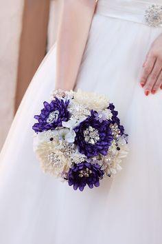 Purple Dahlia Jeweled Flower Bouquet #wedding #bouquet #dahlia