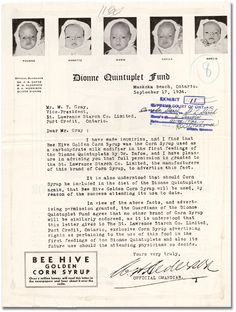 Dionne Quintuplets-they were bought and sold and used for the personal gain of others and the personal detriment of themselves. I Am Canadian, Canadian History, Ontario, Historical Artifacts, Unusual Art, Infancy, Photo Story, Vintage Ads, Thought Provoking