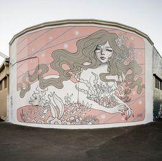 Audrey Kawasaki's Mural Magic  #beautifulbizarre #beautifulbizarremagazine #artmagazine #newcontemporaryart #contemporaryart #art #painting #figurativeart #portrait #streetart #mural