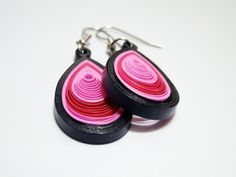 Colorful Pink and Navy Quilled Earrings by SimplyQuilledDesigns, $25.00
