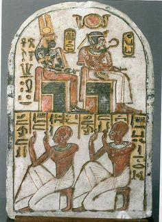 EStela  del faraón Amenhotep I y su madre Nefertari  (Dynasty XIX, Deir el-Medina)  (Museo Egipcio de Turin.