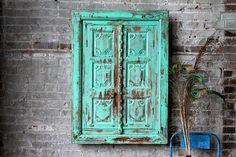 SALE Shutter Mirror Reclaimed Vintage by hammerandhandimports Moroccan Garden, Moroccan Decor, Shutters, Facade, Turquoise, Boho, Vintage Cabinet, Unique Jewelry