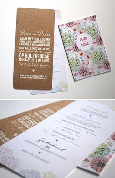 Petro & Pieter's cheerful invitations - White on Kraft <3 - Seven Swans Wedding Stationery
