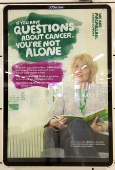Here's a straight up ad that isn't asking for donations from Macmillan - a cancer support charity. This is advertising their advice line for people who have concerns or questions about cancer. #charity #poster #advert #macmillan. #cancer