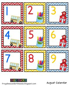FREE August Classroom Calendar Cards from Pixie Chicks Shop on… Kindergarten Calendar, Preschool Calendar, Teaching Calendar, Kindergarten Classroom Decor, Classroom Calendar, Classroom Activities, In Kindergarten, Classroom Ideas, Classroom Labels