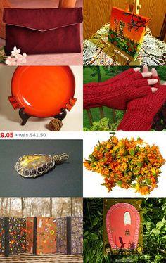 My clutch purse is featured here: Warm Colors...Cool Things by Suzanne on Etsy--Pinned with TreasuryPin.com  #clutch #clutchpurse #handbag #purses #maroon #burgundy #suedepurse #smallbag #smallpurse #handmade #handmadegifts #giftideasforher #giftideasforwomen #giftguide #holidaygiftguide #fallfashion #winterfashion