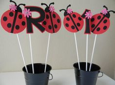 Ladybug Birthday Party Centerpieces Red by sweetheartpartyshop, $10.00