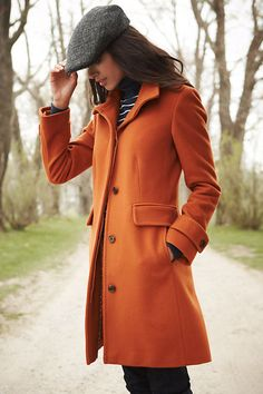 Burnt Orange Luxe Wool Walker Coat...I actually have an Orange coat that I LOVE!