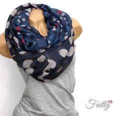 Loop Schal  ♥ Punkte blau schwarz von Faitly auf DaWanda.com