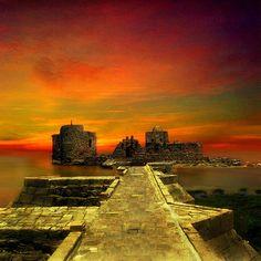 by digitalpsam ..Lebanon, Sidon, the Sea Castle at sunset