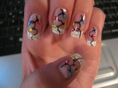 Christmas lights on nails- I want to do this!