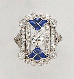 [Ring] Art Deco Diamond and Platinum Ring and Bar Brooch (2), circa 1925