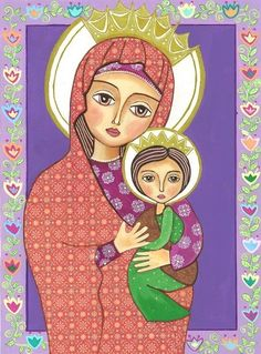Folk Art Painting Madonna and Child Print by Evonagallery