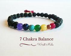 7 #Chakra #Bracelet, Black Lava Bracelet, Wrist Mala Beads, Yoga Bracelet, Yogi Bracelet Gift, Healing Crystals and Stones, Buddha Bracelet