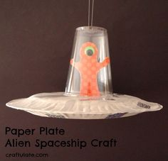 This spaceship craft is made from paper plates and also features an alien!