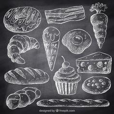 Schizzi fast food e dolci con il gesso Vettore gratuito