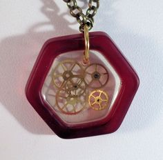 Recycled Glass and Watch Gears Necklace Steampunk     03 #Handmade #Pendant