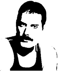 Entertainment Discover Freddie Mercury by El-Teo رسوميات Stencil Patterns, Stencil Art, Stencils, Freddie Mercury, Arte Do Hip Hop, Silhouette Clip Art, Shark Silhouette, Scroll Saw Patterns, White Art