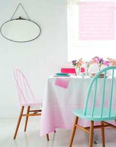 Love this fresh and fun dining/kitchen table concept:  Pretty pastel colorblock chairs steal the show, and I like that these colors—the pastel mint and pastel pink work due to creating a balance with modern chic white walls,contrasting rich wood tones with the Light Pink and Mint, then adding bright hued accents that pop.
