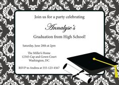 Party Invitations Templates Free Downloads Graduation Party Invitations  Printable Damask Grad Announcement .