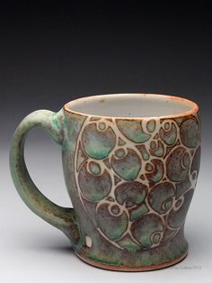 Julie Covington Mug at MudFire Gallery . Try this with shino first glaze then way with orribe or other- line with white