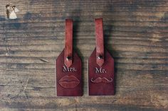 Custom Leather Luggage Tags, Initials Key Chain, Set of 2 leather tags, Wedding Party Favor, Personalized Keychain, Leather Keyring, gift, Mustache, lips kiss, Honeymoon, Bridal - Honeymoon travel accessories (*Amazon Partner-Link)
