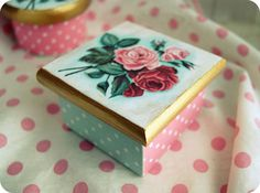 Everything's Rosey wooden keepsake box Square $24.00 #roses #painted #polka dots #pink #vintage #retro #pink #aqua #red