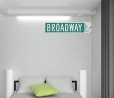 Broadway Street Sign- Reusable Wall Graphic, Wall Sticker, 2 sizes to choose from, New York wall decal on Etsy, $14.00