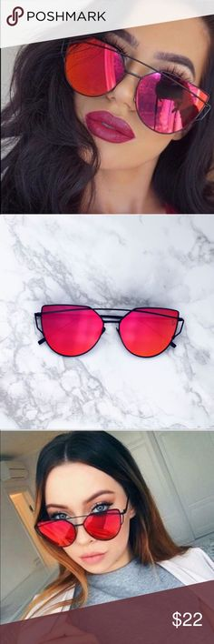 Red Mirror Cat-eye Sungalsses These will be a staple piece in your everyday wardrobe! Red mirror cateye sunglasses with UV protection. 🚫 trades, bundle to save. Accessories Sunglasses