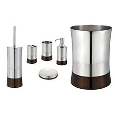 Brown 6 Piece Bathroom Accessory Set Stainless Steel Trash Bin Toilet Brush Toothbrush Holder Tumbler Soap Dish and Dispenser 6 Piece Set with Unlidded Trash Bin ** For more information, visit image link.