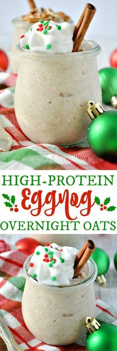 Enjoy a healthy, high-protein breakfast or snack with these easy Eggnog Overnight Oats! (breakfast smoothie recipes with oats) Protein Snacks, Healthy Snacks, Healthy Protein, Protein Recipes, Smoothie Recipes, Healthy Breakfasts, Shake Recipes, Eating Healthy, Healthy Drinks