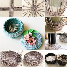 Woven Basket From Newspaper