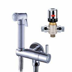 Thermostatic Bidet Faucets Mixers Taps + Brass Hand Held Bidet Shower Sprayer +Valve with Holder + Shower Hose